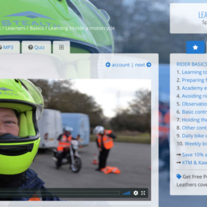 Online learning Academy, learn to ride a motorcycle, online training